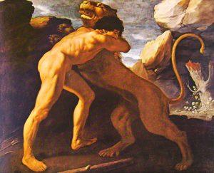 La lotta tra Eracle e il Leone